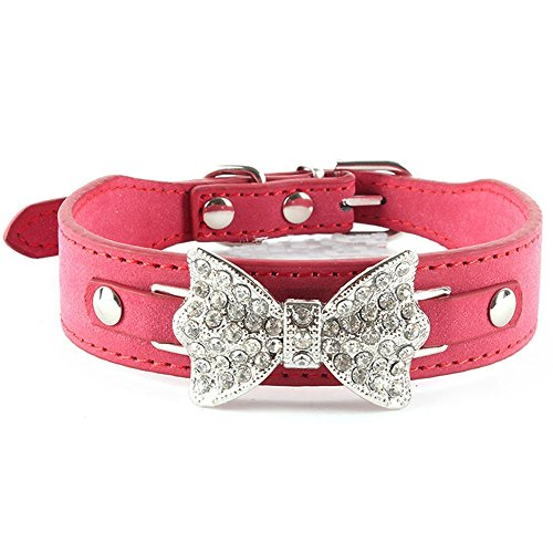 Pet Necklaces Bling Crystal Rhinestone Bow Tie Pu Leather Pet Cat Puppy Dog Neck Collar Xs S M (RED, (Genie Stem)
