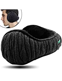 Dimples Excel Unisex Knit Ear Muffs Foldable Ear Warmers Winter Outdoor Earmuffs Size Adjustable(1 Pack/Black)