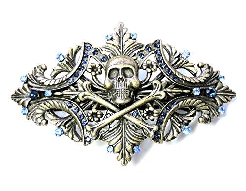 [Faship Pirate Crossbones Barrette Navy Blue Rhinestone Crystal Halloween] (Pirate Hair)