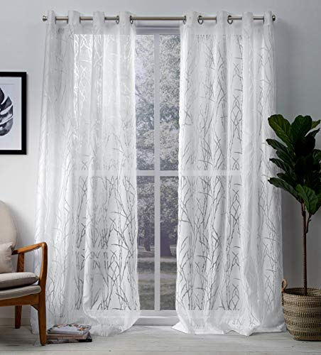 Exclusive Home Curtains Edinburgh Sheer Branch Burnout Window Curtain Panel Pair with Grommet Top, 52x96, Winter White, 2 Piece