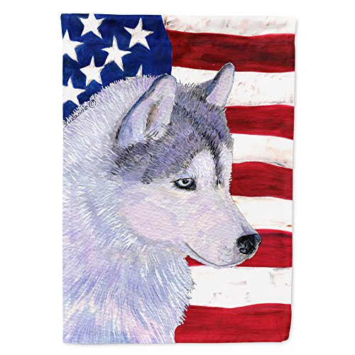 Caroline's Treasures SS4220CHF USA American Flag with Siberian Husky Flag Canvas, Large, Multicolor ()