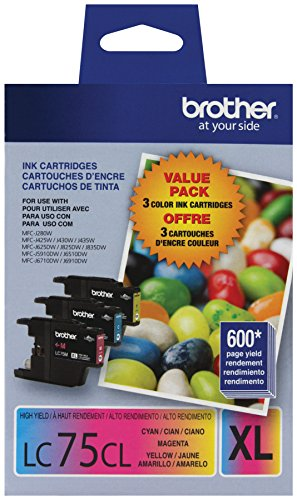 Brother Printer LC753PKS 3 Pack- 1 Each LC75C, LC75M, LC75Y Ink (Color Brother Ink)
