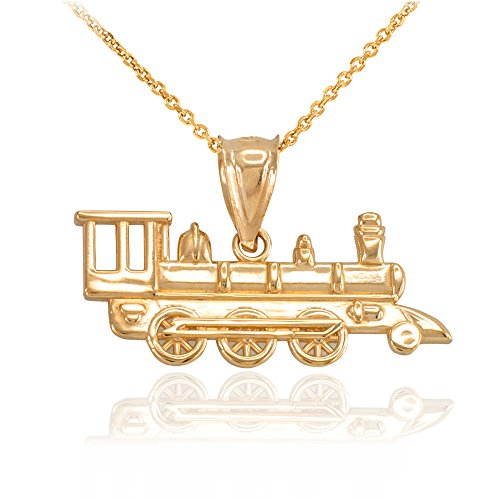Gold 10k Train Solid (Fine 10k Yellow Gold Steam Engine Locomotive Train Pendant Necklace, 18