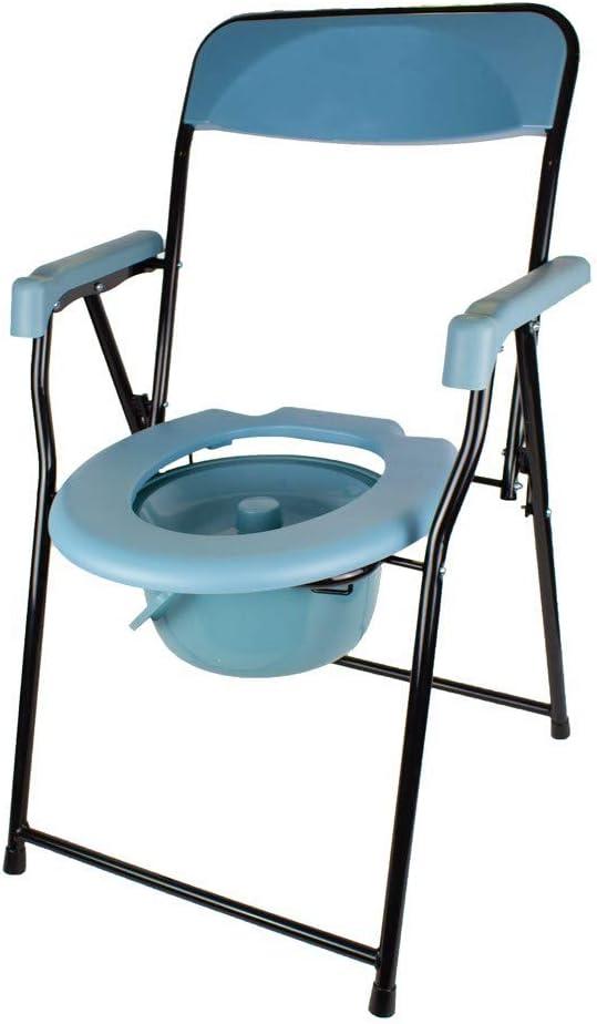 Mobiclinic, Timón, Silla con WC o inodoro para discapacitados, ancianos, minusválidos, Plegable, Reposabrazos, Asiento ergonómico, Conteras antideslizates