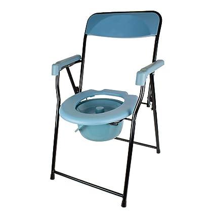 Silla WC | Plegable | Asiento ergonómico | Cómodos reposabrazos y ...
