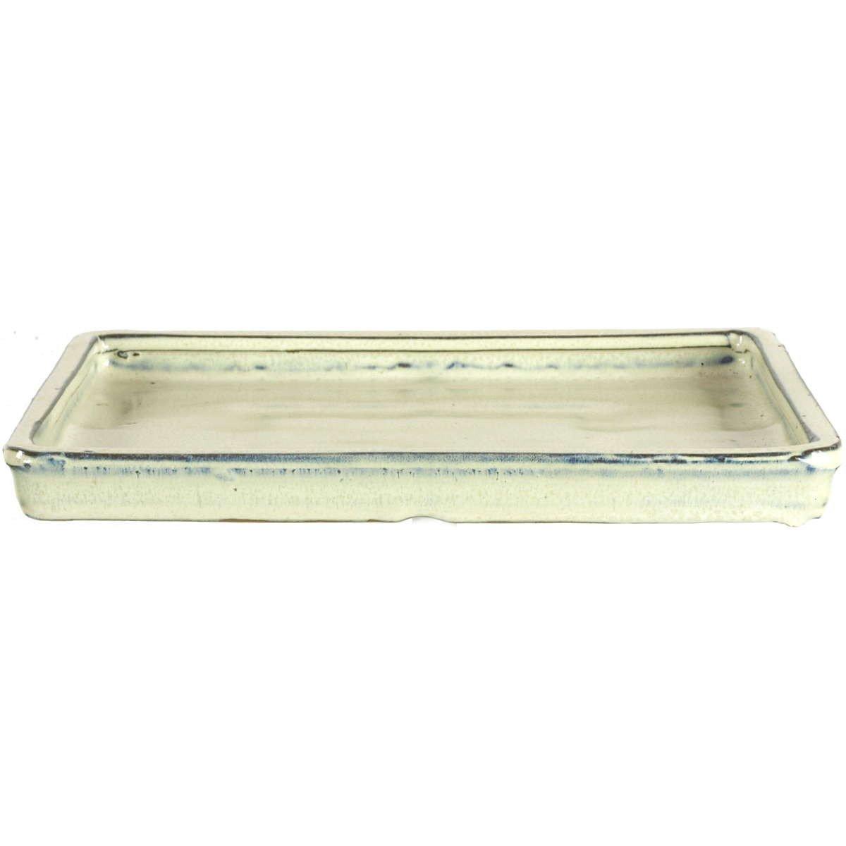 Bonsai Untersetzer 16x12x2cm Wei/ß Oval Glasiert