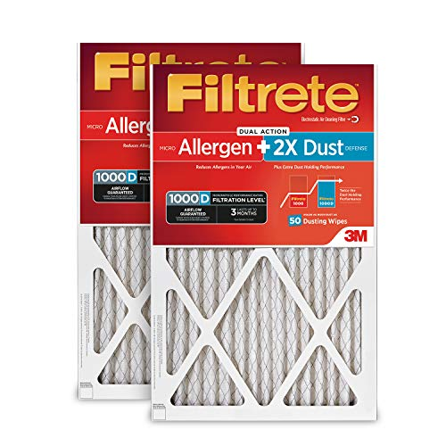 Filtrete 16x25x1, AC Furnace Air Filter, MPR 1000D, Micro Allergen PLUS DUST, 2-Pack
