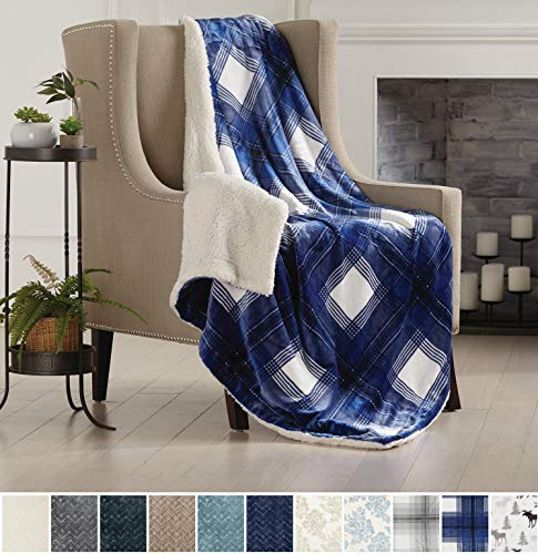 Home Fashion Designs Premium Reversible Two-in-One Sherpa and Sculpted Velvet Plush Luxury Blanket. Fuzzy, Cozy, All-Season Berber Fleece Throw Blanket Brand. (Plaid Navy)