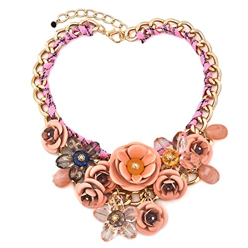 LuckyJewelry Statement Golden Chain Necklaces Flower Chunky Bubble Pendant For Women Girlfriend Mom Gifts (Pink 03)