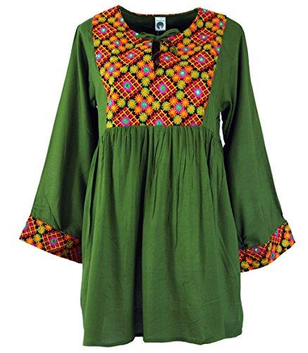 Grün Damen Minikleid 40 Shop Maxitunika amp; Alternative Tunikas Size Grün Tunika Blusen Boho Bestickte Bekleidung Guru Synthetisch Chic PFwq08qY