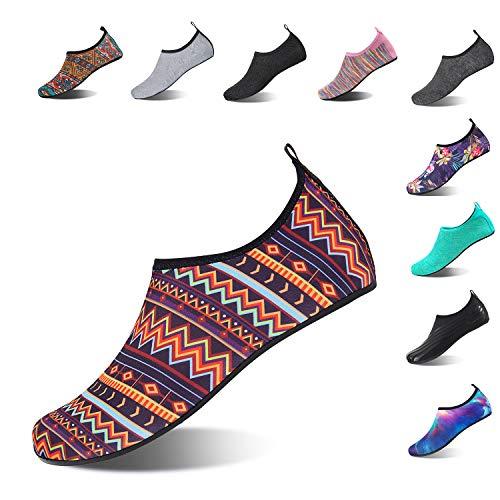 HMIYA Aqua Socks Beach Water Shoes Barefoot Yoga Socks Quick-Dry Surf Swim Shoes for Women Men (Bohemian, 44/45EU)