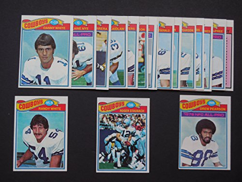 Dallas Cowboys 1977 Topps Football Team Set (Super Bowl Champions)** featuring Billy Jo DuPree, John Fitzgerald, Cliff Harris, Efren Herrera, Butch Johnson, Ed Jones, Scott Laidlaw, Harvey Martin, Robert Newhouse, Blaine Nye, Drew Pearson, Preston Pearson, Golden Richards, Roger Staubach, Charlie Waters, Danny White and Randy White**