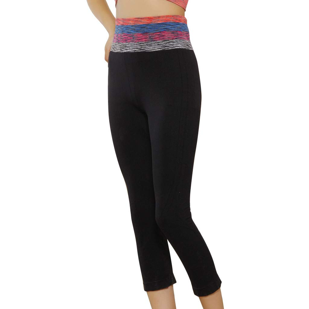 Women's High Waist Yoga Pants,Stretch Quick-Drying Tight Bottom Spliced Seven-Minute Pants (S, Black)