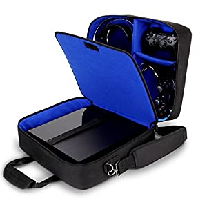 USA GEAR Console Carrying Case Compatible with PS4 Pro and Playstation 4 Slim – Accessory Storage for Controllers, Cables, Headsets and Padded Shoulder Strap – Fits All PS4 and PS3 Models – Blue