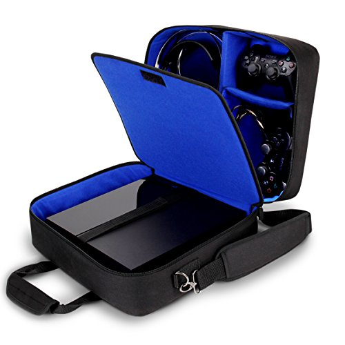 USA GEAR Console Carrying Case with Accessory Storage for Controllers, Cables, Headsets and Padded Shoulder Strap - Compatible with Playstation 4 Slim and PS4 Pro - Fits All PS4 and PS3 Models - Blue