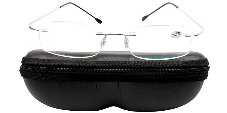 73d2744721 SOOLALA High End Lightweight Titanium Stainless Steel Rimless Reading  Glasses