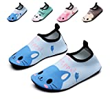 lewhosy Kids Boys and Girls Swim Water Shoes Quick Drying Barefoot Aqua Socks Shoes for Beach Pool Surfing Yoga(34/cat Blue)