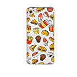 iPhone 8 Case/iPhone 7 Case(4.7inch), Blingy's New Fun Food Style Transparent Clear Flexible Soft TPU Rubber Case for iPhone 8 and iPhone 7 (Happy Fast Food)