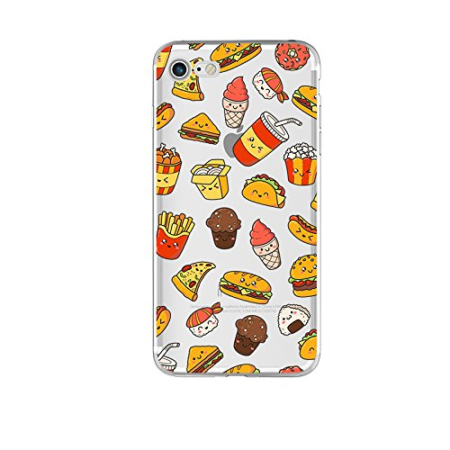 (iPhone 8 Case/iPhone 7 Case(4.7inch), Blingy's New Fun Food Style Transparent Clear Flexible Soft TPU Rubber Case for iPhone 8 and iPhone 7 (Happy Fast Food))