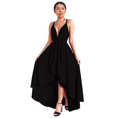 HOSOCHRIS Womens Cocktail Prom Sexy Long Dress Deep V-Neck Solid Black Backless Sleeveless Asymmetry