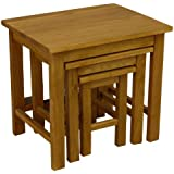Solid Oakland Chunky Oak Nest Of Tables / Nesting Set of 3 Side Tables