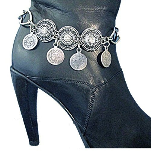 Boho Coin Rhinestone Gypsy Boot Bracelet Bling Chain Artisan Personalized Jewelry Handmade in USA