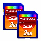 Lot of 2 Transcend 2GB SD Flash Memory Card TS2GSDC