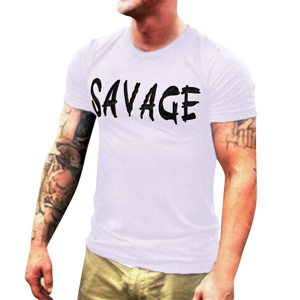 Men T-Shirt Short Sleeve Casual Fashion Shirt Letter Print Top Blouse (S, White)