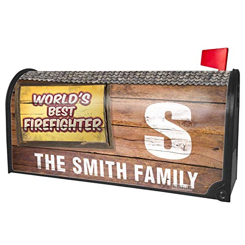 NEONBLOND Custom Mailbox Cover Worlds Best Firefighter, Happy