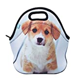 Neoprene Lunch Tote, OFEILY Children's Lunch Box (Middle, Staring dog)