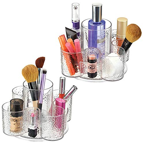 mDesign Decorative Cosmetic Organizer Spinner for Bathroom Vanity Countertop - Holds Makeup, Blenders, Lip Gloss, Mascara Hair, Brushes, Beauty Accessories - Textured Plastic, 2 Pack - Clear