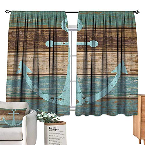 ParadiseDecor Anchor,Blackout Drapes Timeworn Marine Symbol on Weathered Wooden Planks Rustic Nautical Theme Blackout Curtains for Bedroom W63 x L63