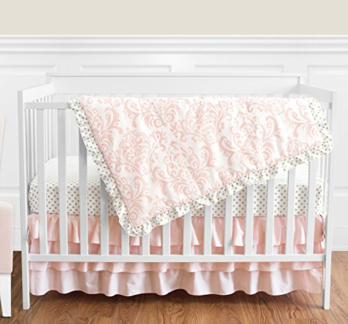 Blush Pink White Damask and Gold Polka Dot Amelia Girl Baby Bedding 4 Piece Crib Set Without Bumper ()
