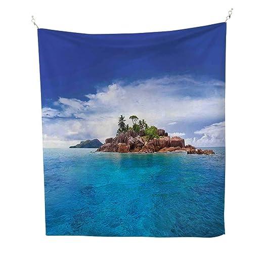 IslandIsland at Seychelles Coconut Journey Jungle Rocky Coast Waves Surface PrintBlue Caramel Green: Amazon.es: Juguetes y juegos