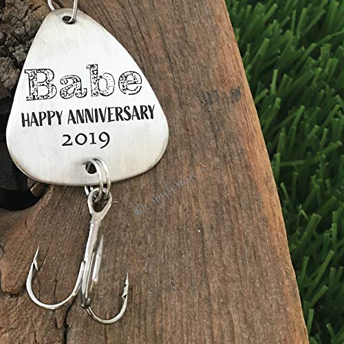 Happy Anniversary- Babe Fishing Lure Anniversary Gift For Husband Men's Gift Boyfriend Personalized Fishing Lure Anniversary Gift For Fiance