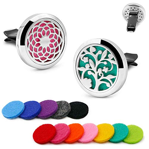 2PCS 30mm Car Aromatherapy Essential Oil Diffuser Stainless Steel Locket Air Freshener with Vent Clip 12 Felt Pads