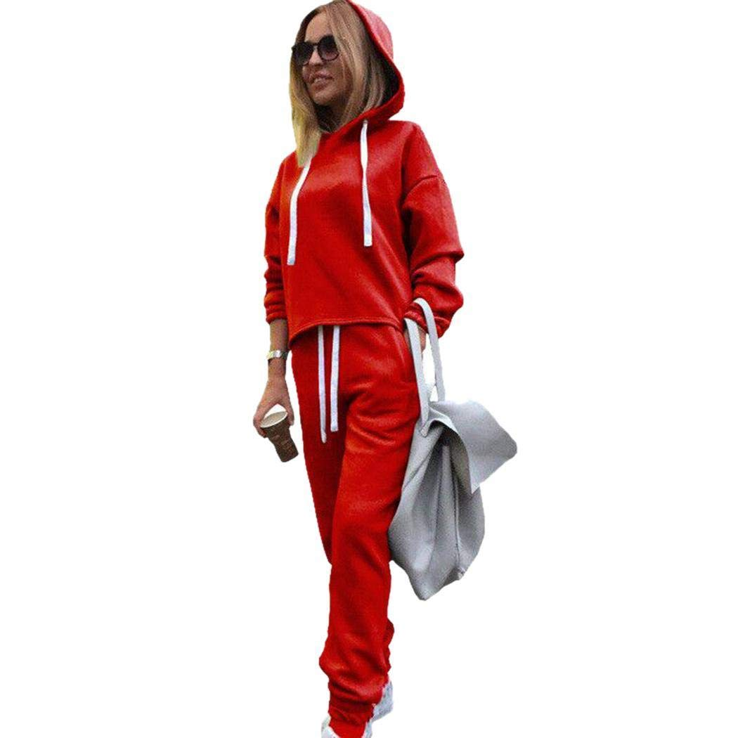 Women Casual Pullover Hoodie Sweatpants 2 Piece Sport Trackusuit Outfits Set