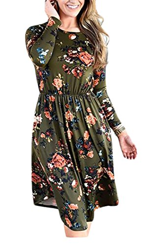 Swing T Print Dress Pleated Floral Army Sleeve Long Green Loose Jaycargogo shirt Women's Tunic nwgzqIPW0
