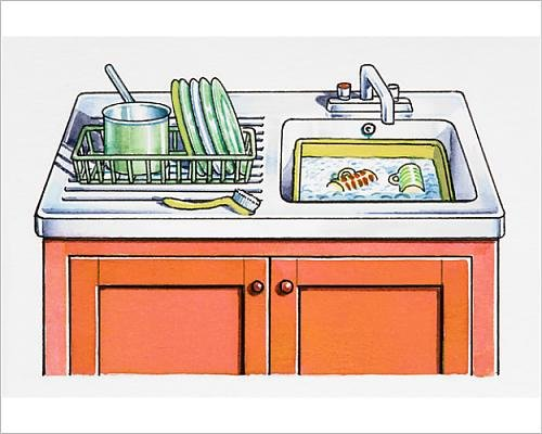 10x8 Print of Kitchen sink, dishes in washing-up bowl and in