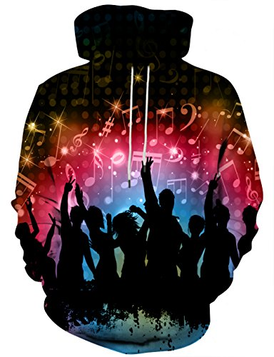 Hgvoetty Men Women 3D Printed Hoodies with Colorful Graphic for Music Festival Party S