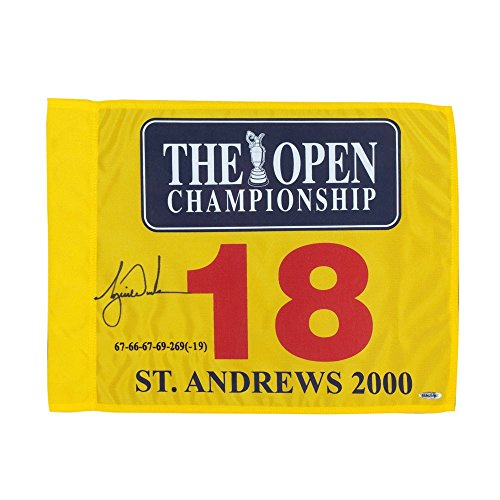 TIGER WOODS Autographed Embroidered 2000 British Open Pin Flag UDA (Tour Hat Golf Pga)