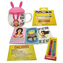 Set of 5 Bobs Burgers Pack- 1 Louise Mug, 1 Pack Memo Tabs, 1 Pencil Set, 1 pack of Small Linda Journals, and 1 Recipe Card for Tinas Espresso