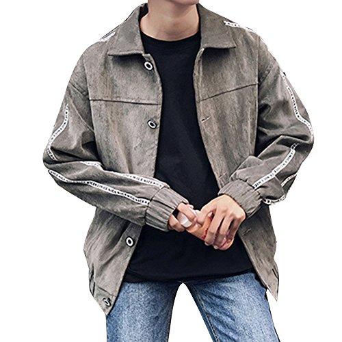 Runyue Hombre Chaqueta Levántate Cuello Cazadora Vaquera con Bolsillos Jacket Suelto Casual Capa Outwear Gris