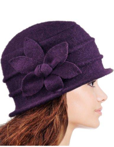 - Dahlia Women's Daisy Flower Wool Cloche Bucket Hat - Purple