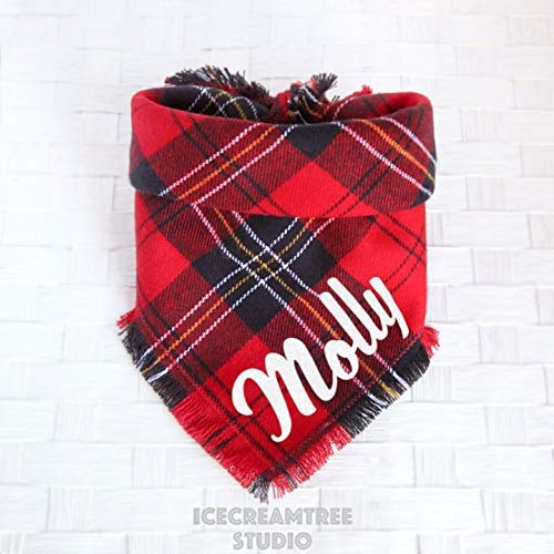 Classic Red Plaid Bandana - Tie on Classic Flannel Pet Bandana Scarf, Pet Fashion Scarf, Dog Bandana Scarf, Cat Bandana Scarf by Icecreamtree Studio