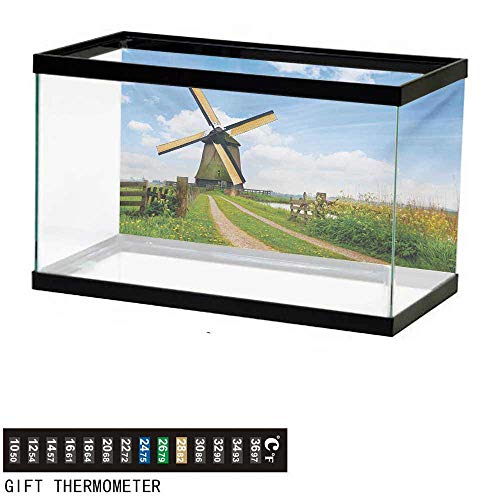 wwwhsl Aquarium Background,Windmill,Blooming Spring Field in Holland Old Traditional Architecture,Green Pale Blue and Apricot Fish Tank Backdrop 36