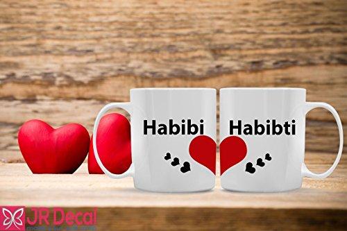 Habibi Habibti Heart Shaped Printed Islamic Mug for Muslim Couple. Islamic mug Morning coffee mug Muslim gift, Romantic Muslim Couple, Islamic gift ideas for Her and him ()