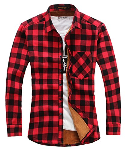 chouyatou Men's Casual Long Sleeve Fleece Lined Plaid Flannel Buttoned Overshirts Jacket (Large, M04)