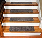 Dean Premium Stair Gripper Tape Free Non-Slip Pet Friendly DIY Carpet Stair Treads 30''x9'' (15) - Smokey Hill Gray