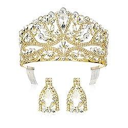 Gold Rhinestone Crystal Tiara With Earrings